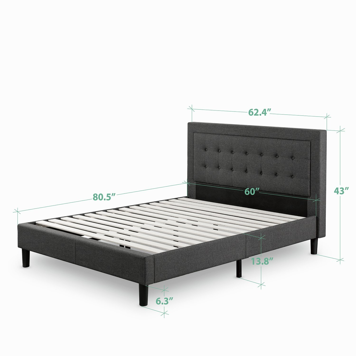 the zinus upholstered button premium platform bed is designed to serve as a support platform for innerspring latex memory foam and hybrid mattresses - Mattress Without Box Spring
