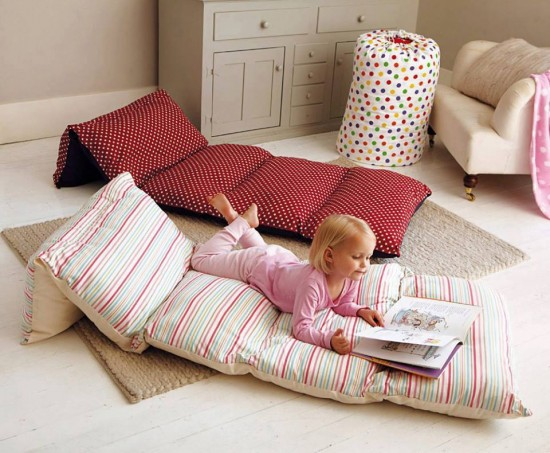Child on pillow bed